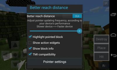 Unlimited reach distance mod для minecraft PE 0.9.5