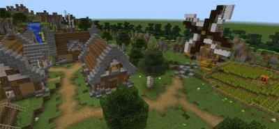 Карта зараженная деревня для MCPE