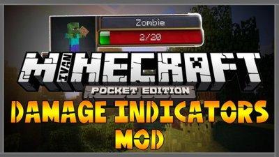 Мод Damage Indicator — индикатор здоровья мобов для MCPE 1.2